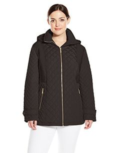 Calvin Klein Women s Plus-Size Quilted Jacket with Hood, Black, 2X Blazer  Jackets 6eedf47dbf4b