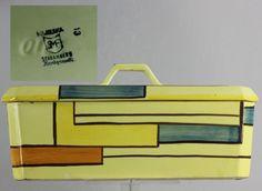 Art Deco Schramberg majolica designs by Eva Zeisel Mondrian pattern cake carrier