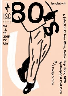 ISC CLUB Event poster – done with Alice Kolb www. Post Punk, Illustrations And Posters, Visual Identity, Album Covers, Waves, Graphic Design, Pop, Bern, Alice