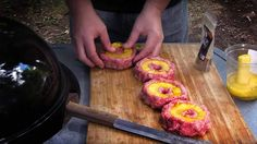 Pineapple Bacon Burgers Pineapple Bacon Burgers Forget about putting pineapple ON the burger, stick it in the beef. The BBQ Pit Boys demonstrate this technique that adds a ton of pineapple flavor to your burger. Try it and you'll never go back to the same ol', same ol' way of grilling this classic bacon burger.