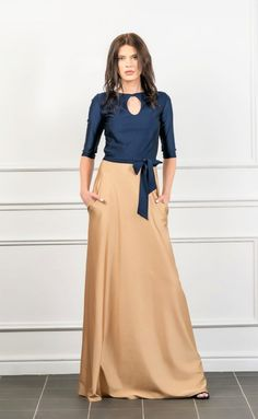 Navy Blue/Sand Maxi A Line Dress Half Sleeves Keyhole Silk Satin Dress, Satin Dresses, Half Sleeve Dresses, Half Sleeves, I Dress, Party Dress, Skirt Outfits, Casual Dresses, Navy Blue