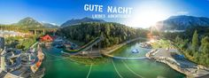 Area 47 in Ötztal-Bahnhof, Tyrol 40 euro per person per night for 4 person lodge including parking. thinking of staying fri to sun have emailed for availibility Area 47, Four Square, Golf Courses, River, Adventure, Park, Night, Summer, Outdoor