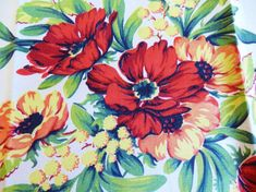 NOS 1950's red kitchen towel, two are available