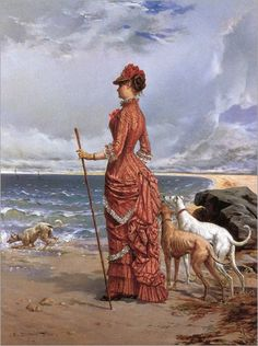 Edmond Louis Dupain: Elegant Lady Walking Her Greyhounds on the Beach