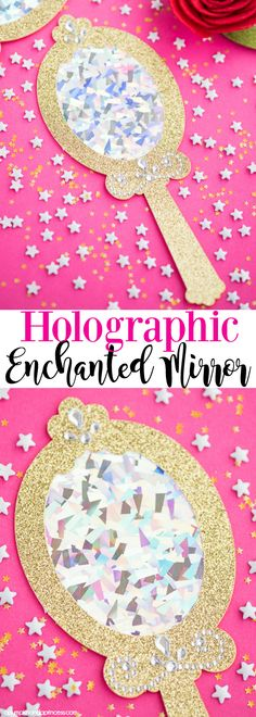 DIY Holographic Enchanted Mirror How to make holographic enchanted mirror party favors inspired by Beauty and the Beast Princess Crafts, Princess Party Favors, Disney Princess Party, Cinderella Party, Fairytale Party, Pink Princess, Barbie Birthday, Barbie Party, 5th Birthday