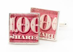 Authentic Vintage Red Stock Certificate Cufflinks by therustedkey, $50.00