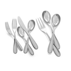 Nambe's chic, beaded Maeve Flatware Set has a classic contemporary style that will complement any dinnerware pattern. Beautifully crafted in stainless steel with a mirror finish, the set includes service for 8 as well as serving pieces. Dinnerware Sets, Flatware Set, Contemporary Style, Stainless Steel, Photo Shoot, Elegant, Board, Casual, Kitchen