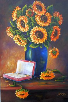 """Mother's day gift ! """"Sunflowers""""  Oil painting 36""""x 24"""". Art by Daysi.  #Realism"""
