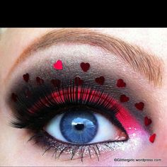 Queen of Hearts eye makeup, (ideas to go with Bri Halloween costume)