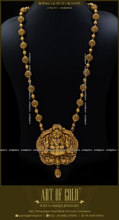 Nagas Haram set with Lakshmi pendant & antique gold balls. The tiny stone adornments for the deity add to the elegance of the neckwear. Gold Bridal Earrings, Gold Earrings Designs, Necklace Designs, Gold Temple Jewellery, Gold Jewellery Design, Gold Jewelry Simple, Antique Gold, Gold Pendent, Indian Jewelry Sets