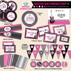 Little Rockstar Girl's Birthday - DIY Printable Party Pack
