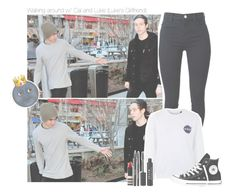 """Walking around w/ Cal and Luke (Luke's Girlfriend)"" by erika-sads ❤ liked on Polyvore featuring J Brand, Tee and Cake, Converse, Stila, Topshop, 5sos, calumhood, lukehemmings and 5secondsofsummer"