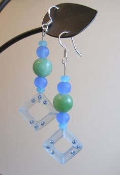 Sea Glass and Frosted Glass w/Swarovski  Earrings by SmithNJewels, $12.99