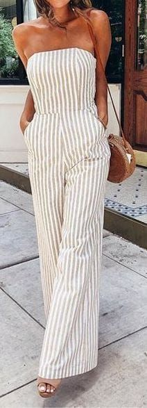 #summer #outfits / striped off the shoulder jumpsuit