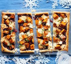 Roast sweet potato & onion tart with goat's cheese Top buttery puff pastry with caramelised onions and melted cheese for a festive buffet or dinner party winner that you can make ahead and freeze Veggie Recipes, Vegetarian Recipes, Cooking Recipes, Potato Recipes, Vegetarian Tart, Vegetarian Buffet, Cheese Tarts, Cheese Food, Goat Cheese