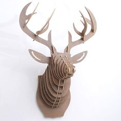 High Quality Brown Walnet Wood Puzzle Deer Head Wall Decoration