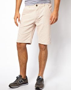 $37, Beige Horizontal Striped Shorts: Brave Soul Striped Shorts. Sold by Asos. Click for more info: https://lookastic.com/men/shop_items/262942/redirect