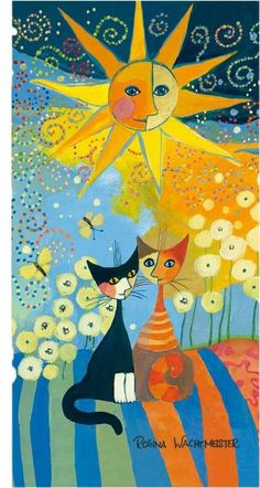 Rosina Wachtmeister - Sunny Day - Strandtuch - bunt - Katzen