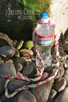"Braided Water bottle holder for hikes. Requires 1"" X 60"" knit fabric strips & rubber gasket. Second Chances by Susan: Girl's Camp Crafts 2013"