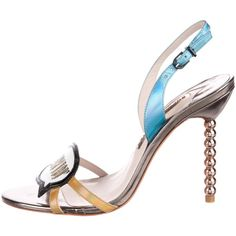 Pre-owned Sophia Webster Just Sayin' Metallic Sandals ($165) ❤ liked on Polyvore featuring shoes, sandals, black, multi coloured sandals, black patent leather sandals, beaded sandals, holographic sandals and black patent shoes
