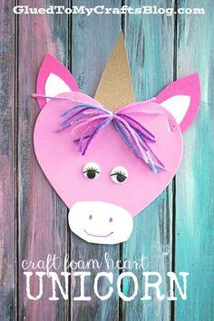 Craft Foam Heart Unicorn - Kid Craft