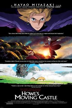 Howl's Moving Castle (ハウルの動く城 Hauru no Ugoku Shiro?) is a 2004 Japanese animated fantasy film written and directed by Hayao Miyazaki of Studio Ghibli and based on the novel of the same name by Diana Wynne Jones. Hayao Miyazaki, Howl's Moving Castle Movie, Howls Moving Castle, Totoro, Internet Movies, Movies Online, Aladdin, Film Manga, Takuya Kimura