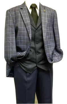 31714c8fac3 1920s Style Suit by Stacy Adams Blue Bally Vest 5640-032 IS Stacy Adams  Suits