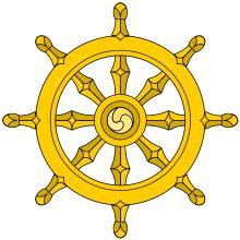 La roue du dharma avec les 8 rayons représentant les huit membres du sentier octuple - Les huit membres du noble sentier octuple (ariyāṭṭaṅgika magga) sont : la compréhension juste; la pensée juste ; la parole juste ; l'action juste ; le mode de vie juste ; l'effort juste ; l'attention juste ; la concentration juste . Au lieu de « juste » on lit parfois « complet » ou « total ». - Bouddhisme — Wikipédia