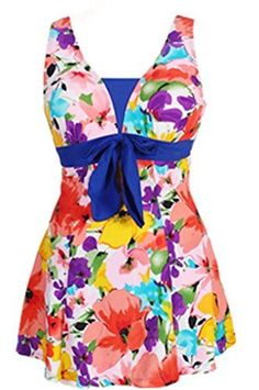 41e57dd597688 Wantdo Women's Floral Swimdress Modest Swimwear Slimming Push Up Skirtini  Swimsuit Lakeblueflower 18W-20W at Amazon Women's Clothing store: