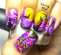 Halloween witch freehand nail art tutorial nails halloween n Seasonal Nails, Holiday Nails, Get Nails, Hair And Nails, Gorgeous Nails, Pretty Nails, Essential Oil Jewelry, Nail Art Videos, Nail Tutorials
