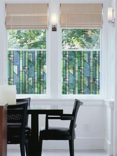 This stained glass window film has an imaginative geometric design. Yellow, green, blue, and white shapes are broken up with an occasional red for interest. Thi