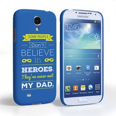 Caseflex Dad Heroes Quote Samsung Galaxy S4 Case - Blue | Mobile Madhouse