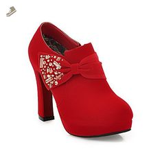 VogueZone009 Womens Closed Round Toe High Heel Suede Frosted PU Solid Pumps with Zippers and Bowknot, Red, 6.5 B(M) US - Voguezone009 pumps for women (*Amazon Partner-Link)