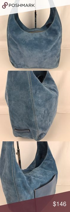"""Michael Kors Suede Lena Large Shoulder Hobo Bag Condition: New, without tags.  A stunning blue! Luxe and supple, the Lena Large hobo comes beautifully crafted in soft suede with quiet hardware and intuitive organization that will carry you from weekday to weekend in refined style. 11""""L single handle, top zip closure. 13-1/2"""" W x 9-1/2"""" H x 5-1/2"""" D. Style 30S6GL1L3S. Our bag RB216   Thank you for your interest!  PLEASE - NO TRADES / NO LOW BALL OFFERS Michael Kors Bags Hobos"""