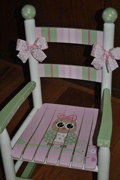 Childrens Custom Hand Painted Girls Pink Owl Rocking by onmyown14
