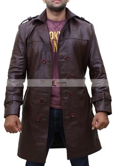 Buy Leather Jackets for Men and Women in USA, shop real leather jackets inspired by Superheroes, Movies, TV Series and Celebrities. Free US Shipping. Trench Jacket, Long Trench Coat, Leather Trench Coat, Rain Jacket, Leather Jackets, Jackie Earle Haley, Dark Brown Color, Men's Coats And Jackets, Double Breasted