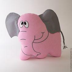 Купить Декоративная подушка-игрушка Розовый слон - бледно-розовый, подушка, декоративная подушка