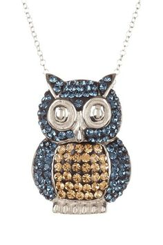Sterling Silver Blue & Yellow Crystal Owl Necklace