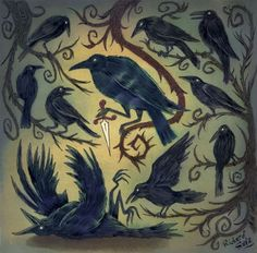 Ya know how there is a flock of sheep? Well for crows you have A Murder of Crows! (And a pride of lions...)
