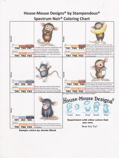 House-Mouse Designs Coloring Chart Ranger Distress Markers colored by Jennie Lin Black Alcohol Markers, Copic Markers, Alcohol Inks, Copic Pens, Coloring Tips, Coloring Pages, Coloring Books, Water Color Markers, Noir Color