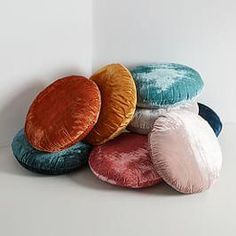 Round Lush Velvet Pillows - West Elm(bought sliver &pink each ) Plain Cushions, Velvet Cushions, Round Cushions, Sofa Cushions, Sitting Pillows, Throw Pillows, West Elm, Most Comfortable Pillow, Velvet Duvet