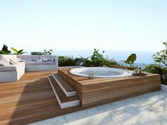 Cozy Modern Outdoor Bathtub Design Ideas 15 image is part of 30 Stunning Cozy Modern Bathtub Dream Design Ideas gallery, you can read and see another amazing image 30 Stunning Cozy Modern Bathtub Dream Design Ideas on website Outdoor Bathtub, Hot Tub Backyard, Outdoor Spa, Backyard Pools, Pool Decks, Pool Landscaping, Rooftop Design, Terrace Design, Whirlpool Deck