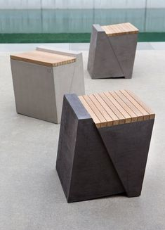 By Atelier Vierkant, Belgium Concrete Stool, Concrete Furniture, Bench Furniture, Concrete Design, Urban Furniture, Street Furniture, Cheap Furniture, Garden Furniture, Furniture Design