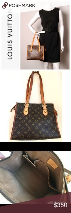 """Authentic Louis Vuitton Popincourt Haut Bag Purse Named after a renowned Paris market. LV Monogram canvas w/leather trim Dimensions: 10.75""""L x 9"""" H x 5.25""""D Date Code: SD1005 Interior Pockets: One flat/one cell phone. Double flat leather Handles Drop: 8"""" - 10"""".  Single zip closure w/petal-shaped tab & pull w/brass balls. Canvas fabric lining. Good pre-owned condition w/light signs of wear. Exterior in very good w/ no tears/stains. Leather trims have normal darkening. Very clean interior…"""