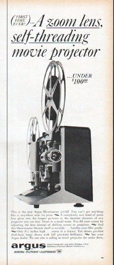 "Description: 1961 ARGUS CAMERAS vintage magazine advertisement ""A zoom lens"" -- (First Time Ever!) A zoom lens, self-threading movie projector ... under $ 100.00 ... This is the new Argus Showmaster 500AZ -- Size: The dimensions of the half-page advertisement are approximately 5.25 inches x 13.5 inches (13.25 cm x 34.25 cm). Condition: This original vintage half-page advertisement is in Excellent Condition unless otherwise noted (slight edge tanning)."