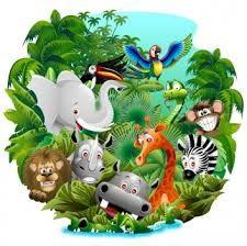 imagenes de animales de la selva animados  Vectores de la selva