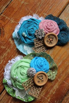 Bride to be Brooch - Rustic Country Flower Burlap & Button Brooch-Custom Made, via dustyLuck
