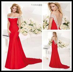 2014 Tarik Ediz Red Off Shoulder Short Sleeve Mermaid Red Prom Dresses Long Sweep Train Beaded Crystal Formal Women'S Party Gowns Petite Prom Dresses Plus Dresses From Dresslee, $147.52| Dhgate.Com