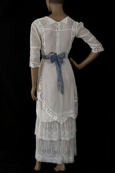 Embroidered lace/tulle tea dress, c.1910 and the back of the dress... love it!