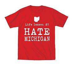 Life Lesson 1 Hate Michigan Funny State of Ohio Football Baby Shirt 24 Months Red ** Continue to the product at the image link. (This is an affiliate link) #BabyBoyTops